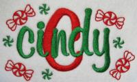 Sample of Candy embroidery font