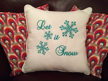 Embroidered holiday decorative pillow
